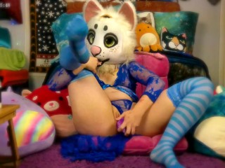 Furry Teen Nori Cat Takes A BIG Knotted Bad Dragon Dildo