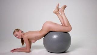 Jane F exercises naked