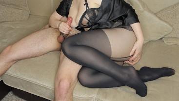 Teen StepSister handjob and handjob - cumshot on her big tits