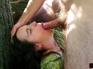 Forest Pixie Overwhelmed by Thick Cock Fucking Her Mouth, Cum on Her Face