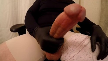 Huge Thick Long Cock in Pink Stretch Pants gets Stroked for Cumshot POV