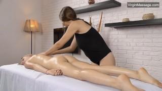 Cute blonde Lizka gets her pussy massaged