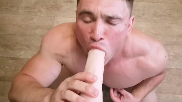 Dildo sucking by muscle guy blowjob with nipples play POV