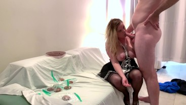 Son fucks the maid and cums on her cookies