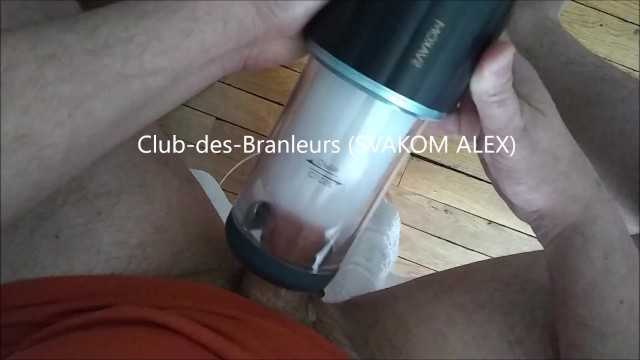 Male automatic cock stroker sex toy Two cunshots handsfree with svakom alex automatic stroker -clubdesbranleurs