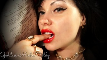 Enjoy the beauty of red juicy lips and the look of a charming passionate