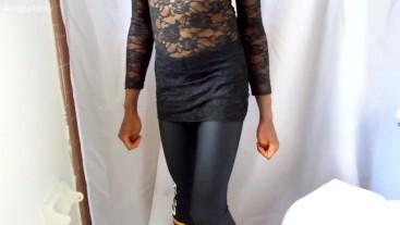 Cute Bi Sissy Trap Jumps 360 & Plays Twerking in Leggings + Dress 20yr old