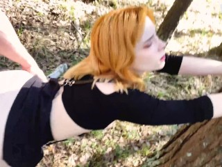 Girlfriend Deepthroat and Passionate Fuck in the Wood - Cum on Tongue