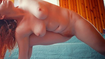 Home Naked Yoga Exercise | Big Boobs Hairy Pussy Ginger Redhead Cum on Ass