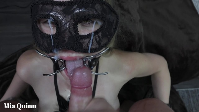 Sewn bottom open mouth sack Facefuck gagging pissing with a open mouth gag - mya quinn