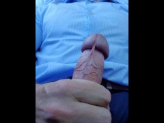 Hot daddy, cums all over his suit in public car park