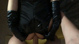 Anal fuck with Big Ass Teen in Latex outfit with gloves and stockings