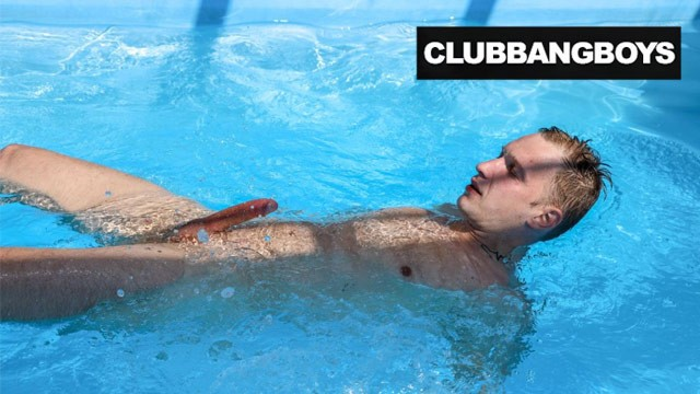 Club gay male Tim jerks off his friend and then plays in the pool