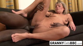 Blonde granny wants her pussy stuffed with black cock!
