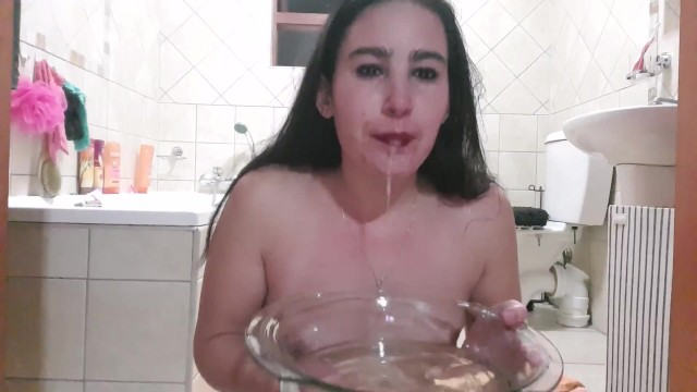 Vintage wood bowl Teen self humiliation dunks face in piss bowl gagging on dildo