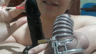 Cuckold training - Jerking another cock in front of my chastity slave