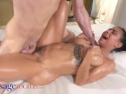 Massage Rooms Latina MILF Canela Skin destroys cock with her big oiled ass