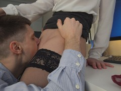 Young clerk's tongue works hard under businesswoman's skirt