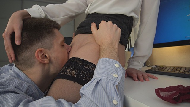 Office secretaries piss skirts tube Young clerks tongue works hard under businesswomans skirt