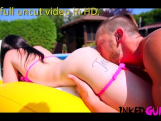 Inked Gurlz – Tattooed Step-Sister Fucked in the Family Pool