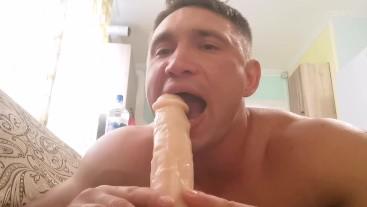 Deep throat dildo sucking