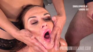 Premium Bukkake – Vinna Reed swallows 68 big mouthful cum loads