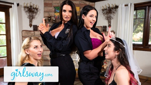 GIRLSWAY Angela White Turns This Bachelorette Party Into A Foursome