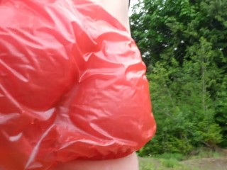 Pissing My Red Plastic Panties OUtside