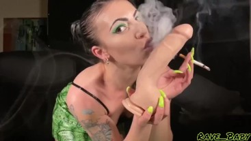Smoking Girl is Craving Cock! 9 inch dildo squirted on & sucked clean