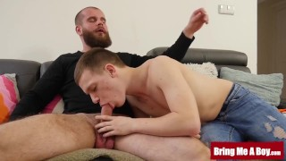 BRINGMEABOY Young Jacob Dolce Tugs Dick While Riding Daddy