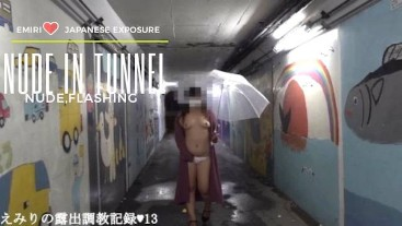 Emiri public nude and  pass through the underpass