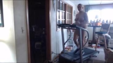 Feb 2019 walking and jogging nude on treadmill bouncing boobs jumping jacks
