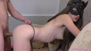 Babe in Mask Sloppy Blowjob and Doggystyle Fucking - Homemade
