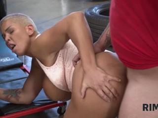 RIM4K. Dame with big boobs is licking anus in the car repair shop