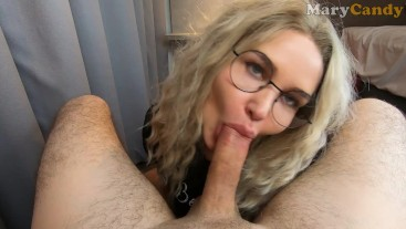 Nerdy Teen with Sweet Lips get Full Load of Cum after Blowjob