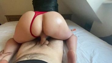 amateur stepmom wears leather jacket and a red string, so she gets fucked