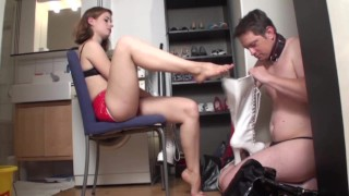 fetish ladies order guys to lick their boots