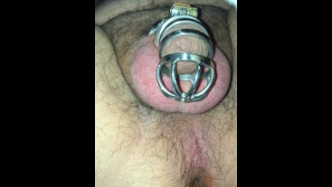 Tattooed Chasity caged fucked hard and deep, teased in cage.