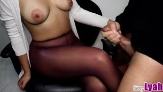 Hot Secretary lets stranger Cum in her Pantyhose Crossed Legs
