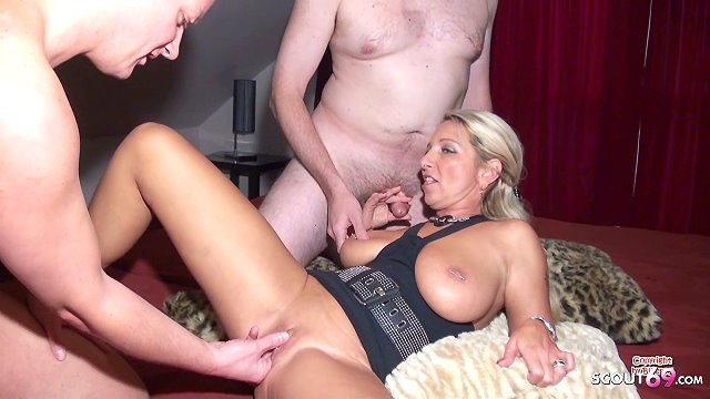 Red tube bi mature German milf teach two older nerds to fuck in amateur threesome