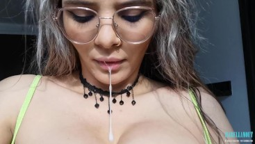 Sloppy play with my spit and ice on my big boobs