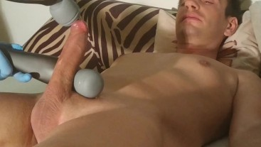 Cum control & cock teasing with 2 high powered hand massager HD