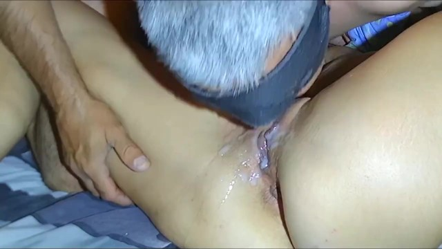 Swallowing my own cum My husband went crazy. he eats his own cum from my pussy.