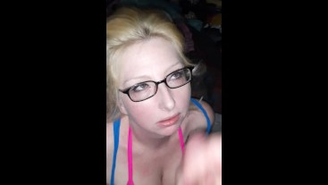 Sexy blonde milf loves sucking and taking a facial