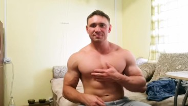 Tasty bodybuilder's hole with oil