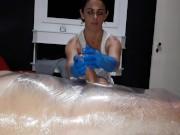 Julia gloves handjob (tied slave)
