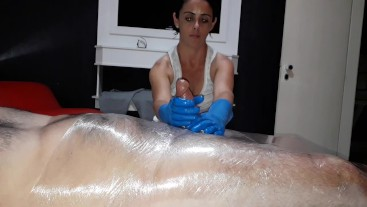 Julia gloves handjob (tied slave)