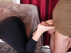 stepsister in yoga pants gives brother oily footjob huge cum on lululemon