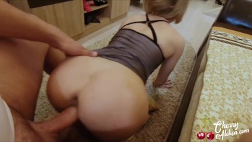 StepMother Sloppy Deepthroat Big Cock, Anal Rough Sex and Cum Swallow