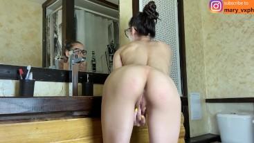 Fit ass cums after shower